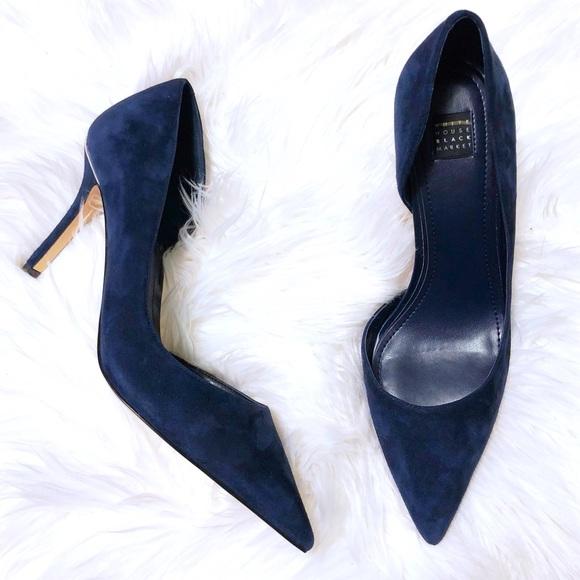 1700eaa43 WHBM Ella Blue Suede D Orsay Heels 💙